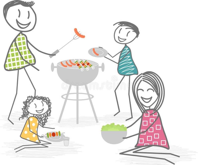 Grill z przyjaciółmi lub sąsiad ilustracja wektor
