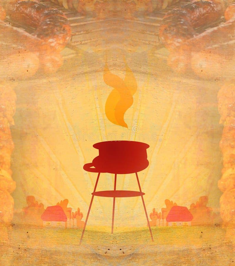 Grill z wyśmienicie piec na grillu mięsem, Abstrakcjonistyczna rocznik rama royalty ilustracja