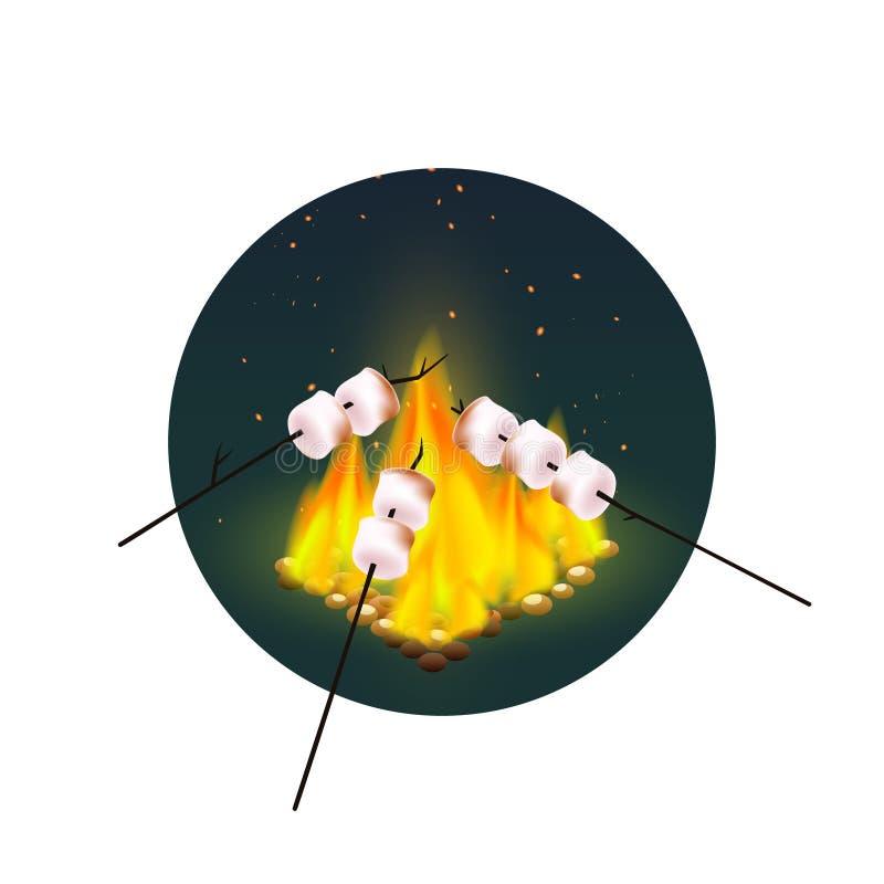 Grilla av marshmallower på brasa vektor illustrationer