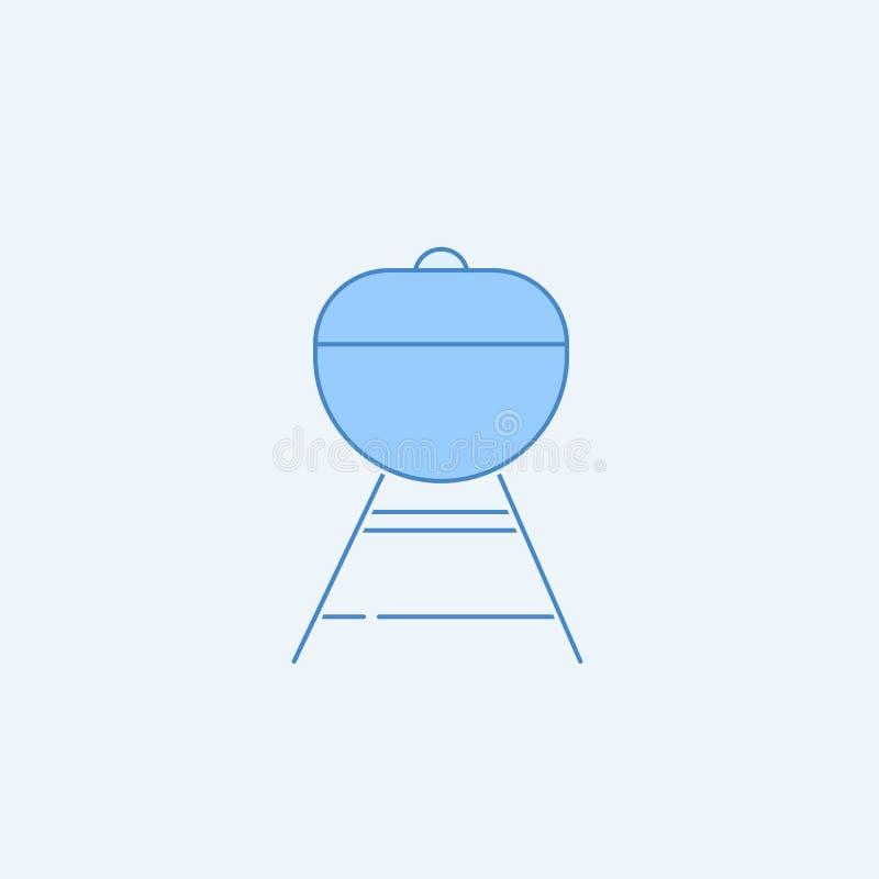 Grilla 2 barwiąca kreskowa ikona Prosta błękitna i biała element ilustracja Grilla pojęcia konturu symbolu projekt od kuchnia set royalty ilustracja