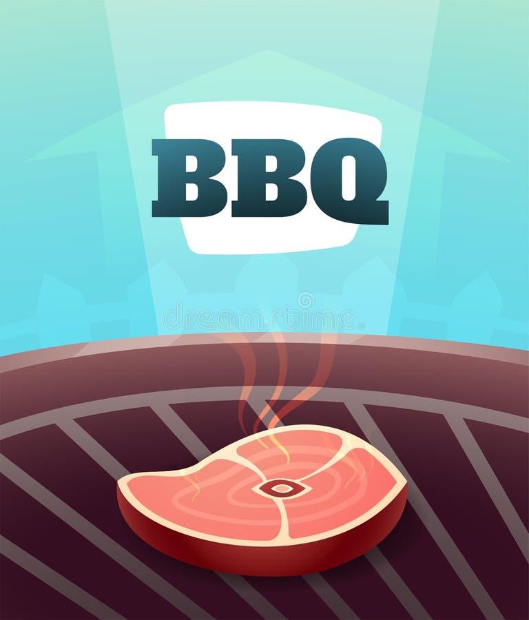 Grilla BBQ przyjęcia zaproszenia karta, ilustracyjny plakatowy tło w kreskówka stylu ilustracji