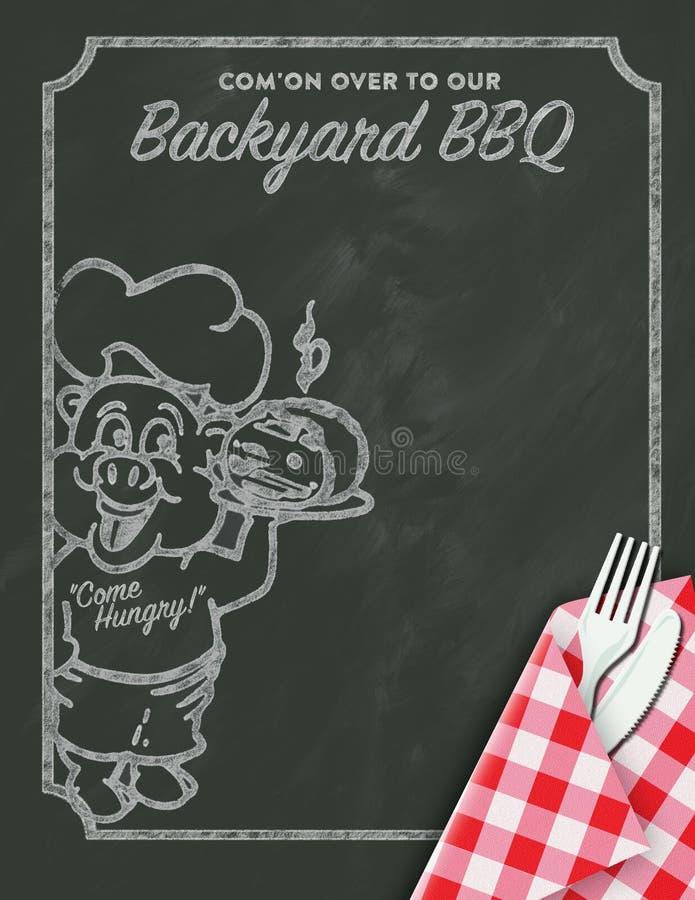 Grilla BBQ zaproszenie ilustracji
