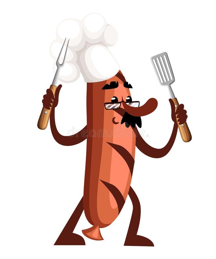 Grilla charakteru kiełbasiany projekt Kiełbasiana maskotka trzyma grillów narzędzia Pojęcie kucharz Wektorowa ilustracja odizolow ilustracji