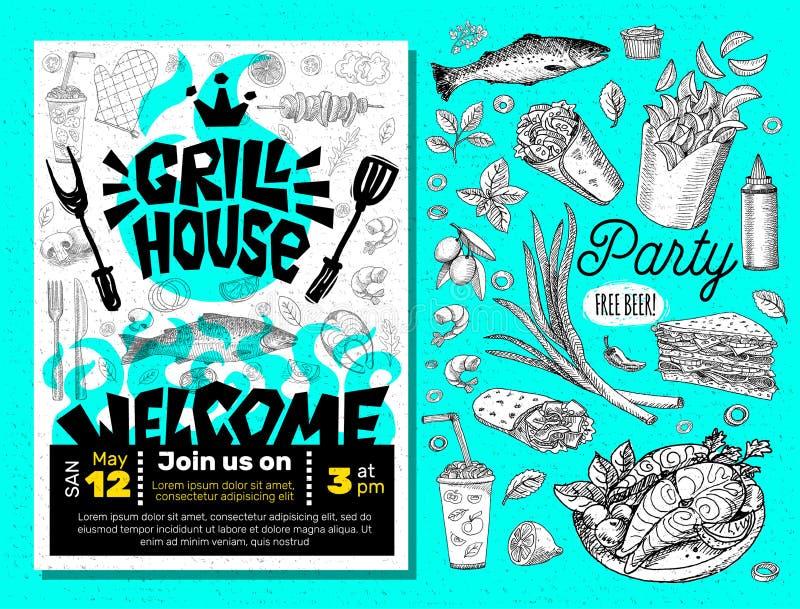 Grilla czasu przyjęcia BBQ jedzenia plakat Piec na grillu jedzenie, mięs warzyw grilla urządzenia rybiego rozwidlenia kurczaka ga ilustracji