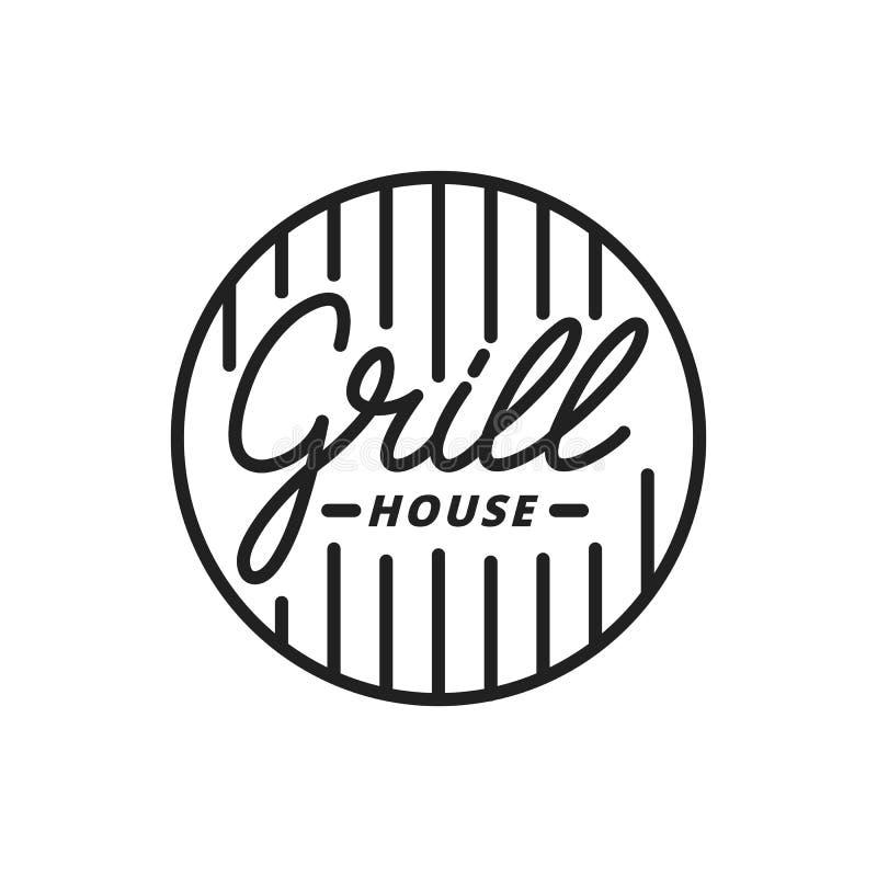 Grilla dom Grilla literowania ilustracja Grill etykietki odznaki emblemat ilustracji