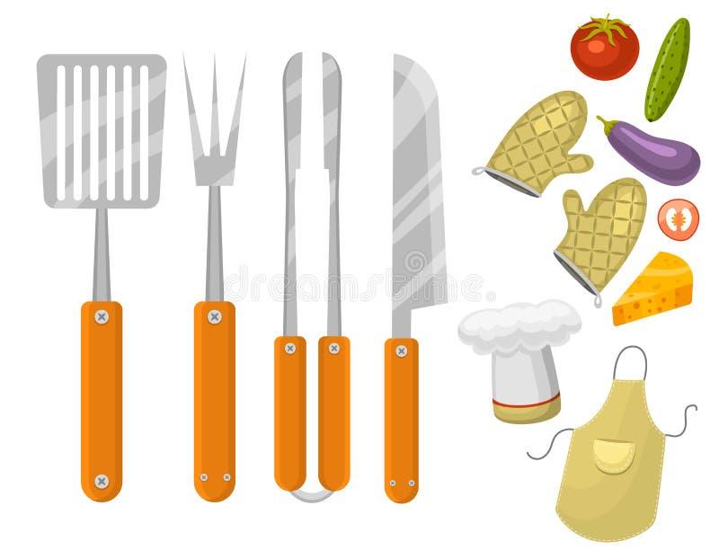 Grilla dom lub restauracyjnego rarty obiadowego produktu bbq opieczenia kuchennego wyposażenia wektorowa płaska ilustracja ilustracja wektor