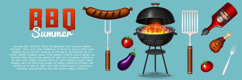 Grilla grilla elementy ustawiają odosobnionego na czerwonym tle Bbq przyjęcia plakat młodzi dorośli Mięsna restauracja w domu cha ilustracja wektor