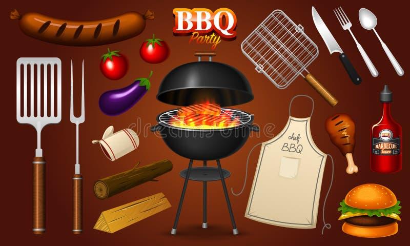 Grilla grilla elementy ustawiają odosobnionego na czerwonym tle BBQ przyjęcie młodzi dorośli Mięsna restauracja w domu Węgla drze ilustracji