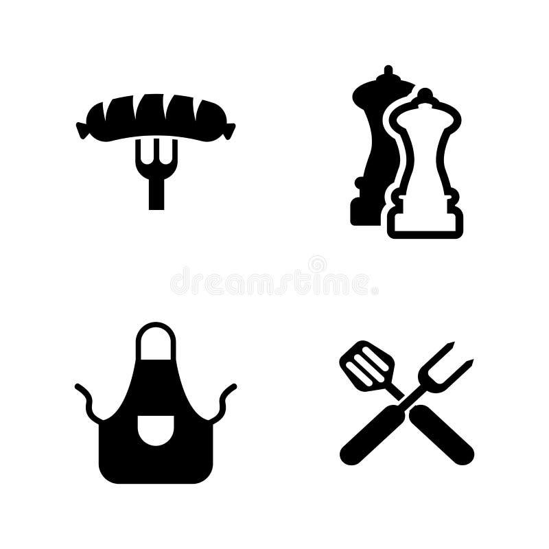grilla Enkla släkta vektorsymboler royaltyfri illustrationer