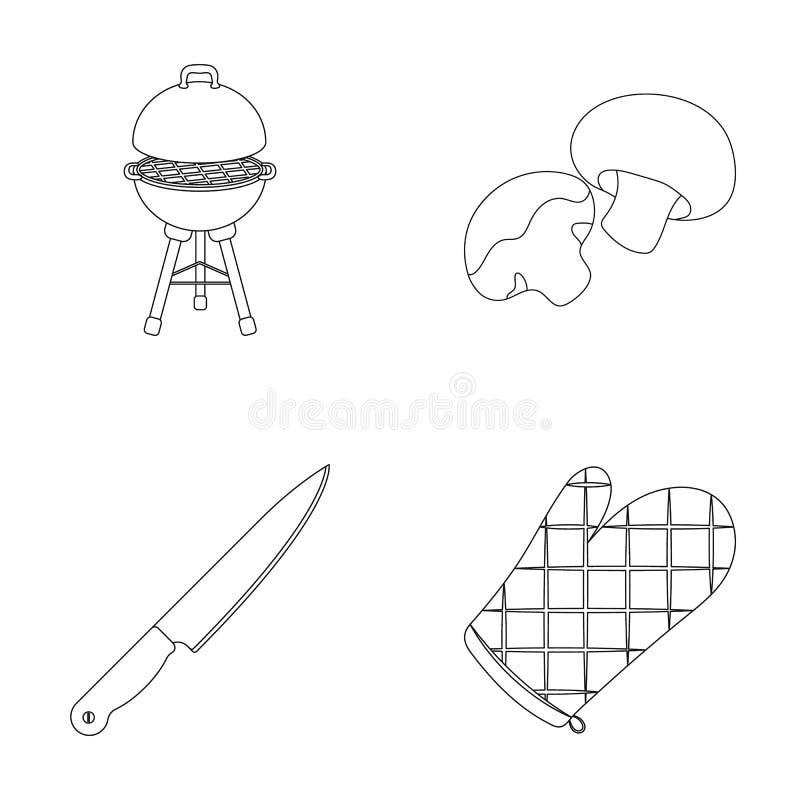 Grilla gallret, champignons, kniven, grillfesttumvante BBQ ställde in samlingssymboler i materiel för symbol för översiktsstilvek stock illustrationer
