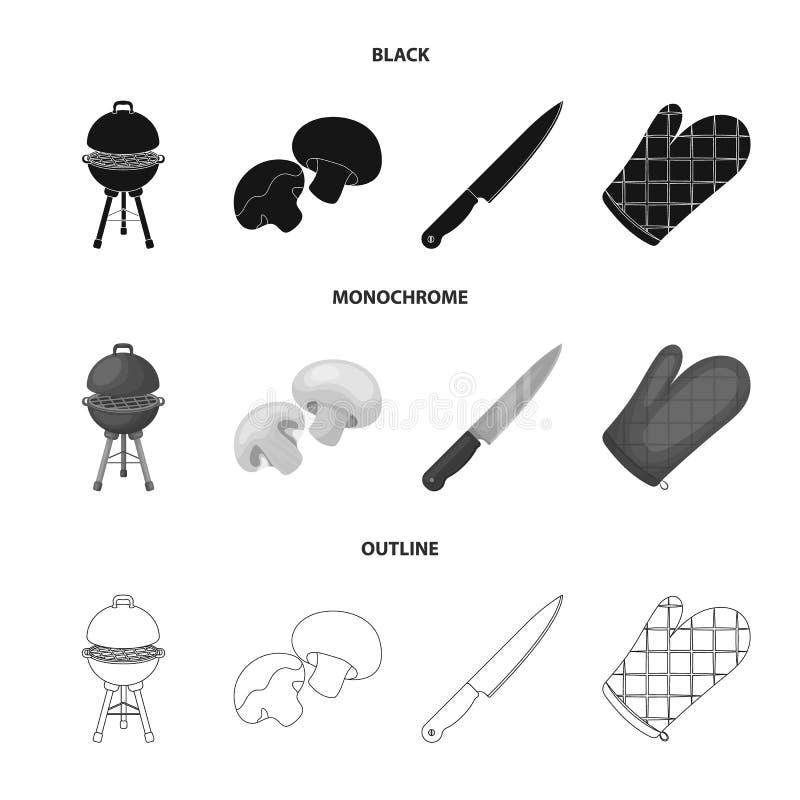 Grilla gallret, champignons, kniven, grillfesttumvante BBQ ställde in samlingssymboler i svart, monokrom, översiktsstilvektor vektor illustrationer