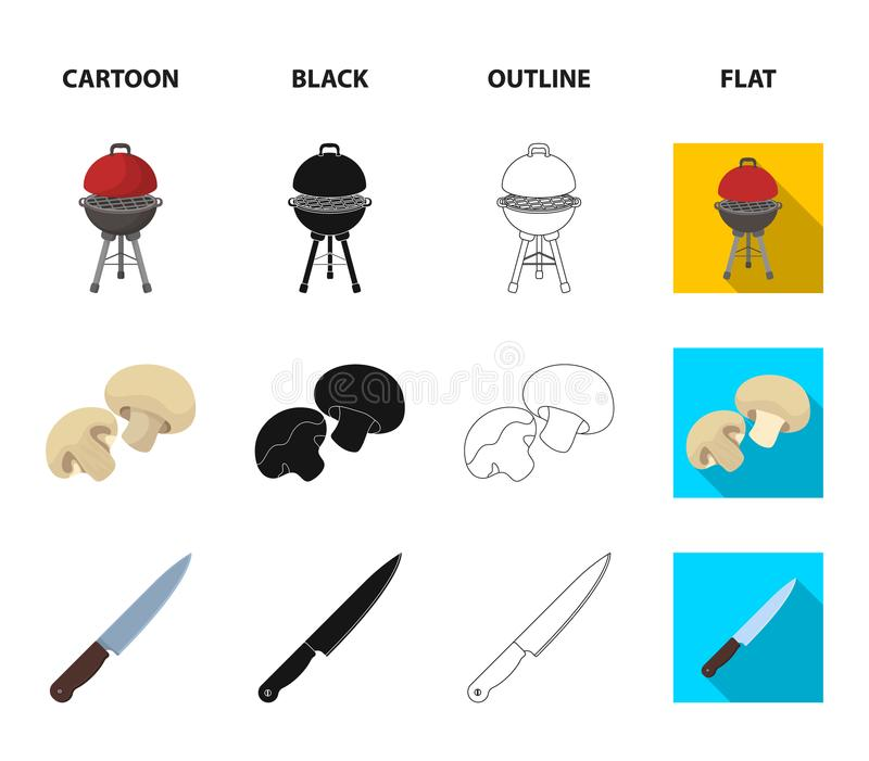 Grilla gallret, champignons, kniven, grillfesttumvante BBQ ställde in samlingssymboler i tecknade filmen, svart, översikten, läge royaltyfri illustrationer