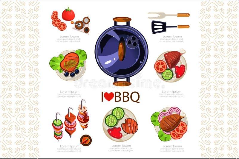 Grilla grill, kuchenni naczynia dla gotowa? i r ilustracja wektor