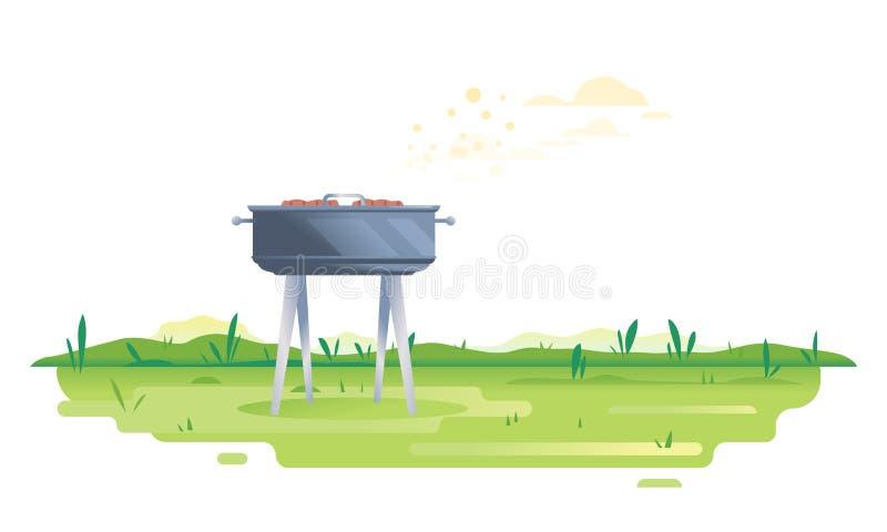 Grilla grill na zielonym szkle ilustracja wektor