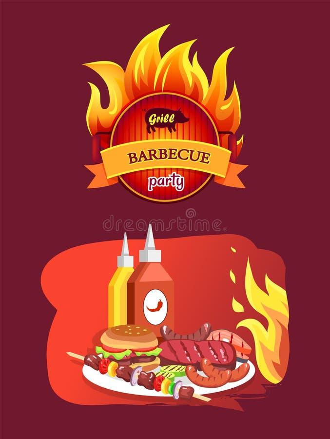 Grilla grill Partyjny i naczynie wektoru ilustracja ilustracja wektor