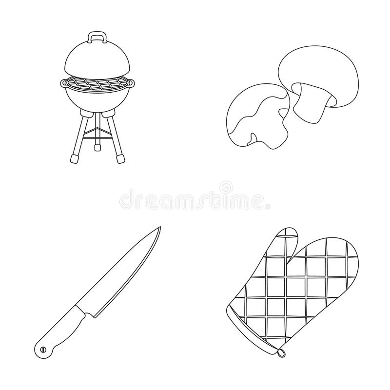 Grilla grill, szampiniony, nóż, grill mitynka BBQ ustalone inkasowe ikony w konturu stylu symbolu wektorowym zapasie ilustracji