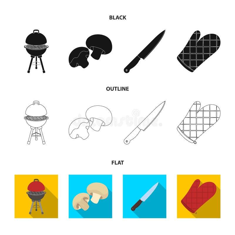 Grilla grill, szampiniony, nóż, grill mitynka BBQ ustalone inkasowe ikony w czarnym, płaski, konturu stylowy wektorowy symbol royalty ilustracja