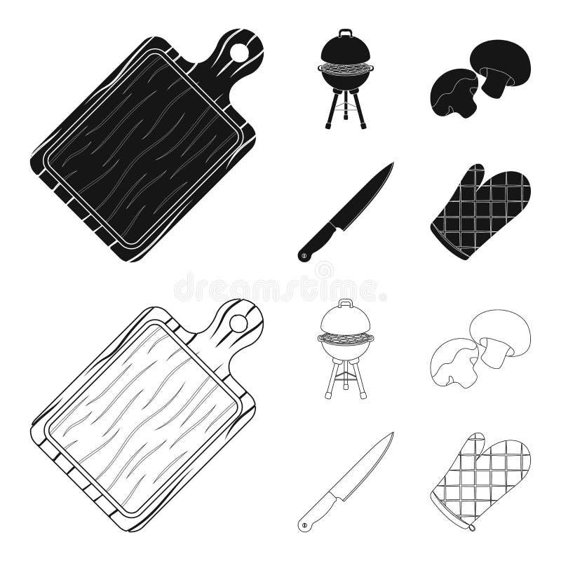Grilla grill, szampiniony, nóż, grill mitynka BBQ ustalone inkasowe ikony w czerni, konturu symbolu stylowy wektorowy zapas ilustracja wektor