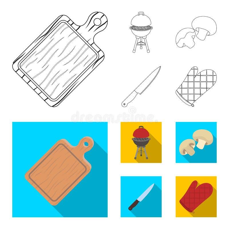 Grilla grill, szampiniony, nóż, grill mitynka BBQ ustalone inkasowe ikony w konturze, mieszkanie symbolu stylowy wektorowy zapas ilustracja wektor
