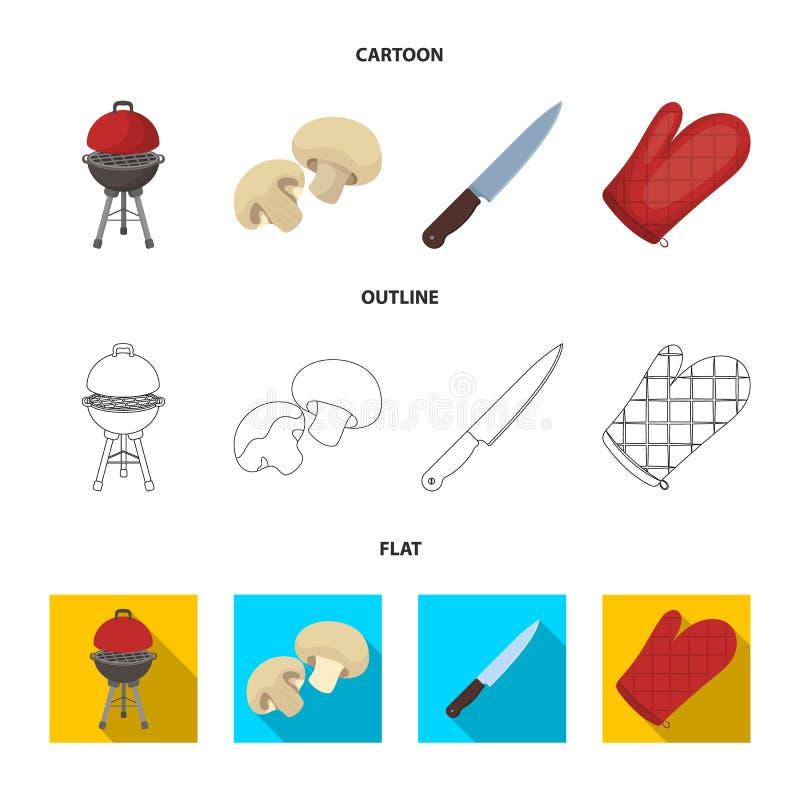 Grilla grill, szampiniony, nóż, grill mitynka BBQ ustalone inkasowe ikony w kreskówce, kontur, mieszkanie stylowy wektorowy symbo ilustracja wektor