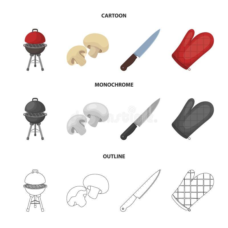 Grilla grill, szampiniony, nóż, grill mitynka BBQ ustalone inkasowe ikony w kreskówce, kontur, monochromu stylowy wektor royalty ilustracja