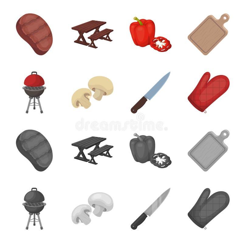 Grilla grill, szampiniony, nóż, grill mitynka BBQ ustalone inkasowe ikony w kreskówce, monochromu stylowy wektorowy symbol ilustracja wektor