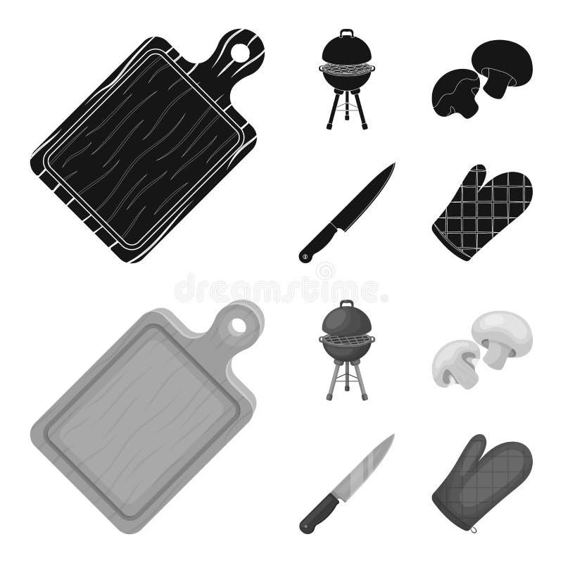 Grilla grill, szampiniony, nóż, grill mitynka E ilustracji