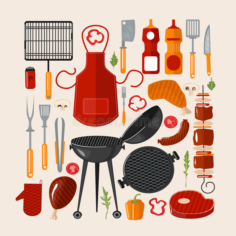 Grilla grill Ustawiający elementy ilustracja wektor