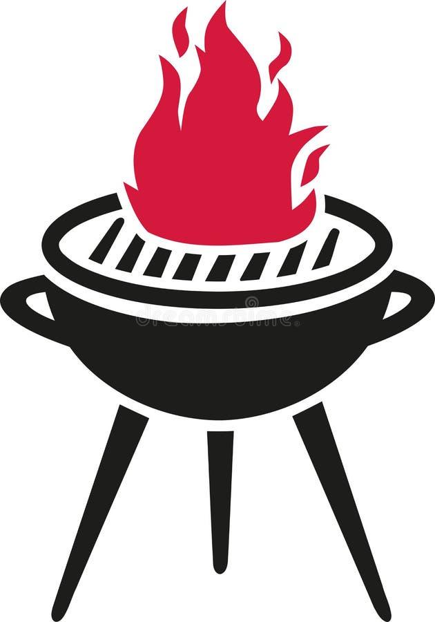 Grilla grill z gorącym płomieniem ilustracja wektor