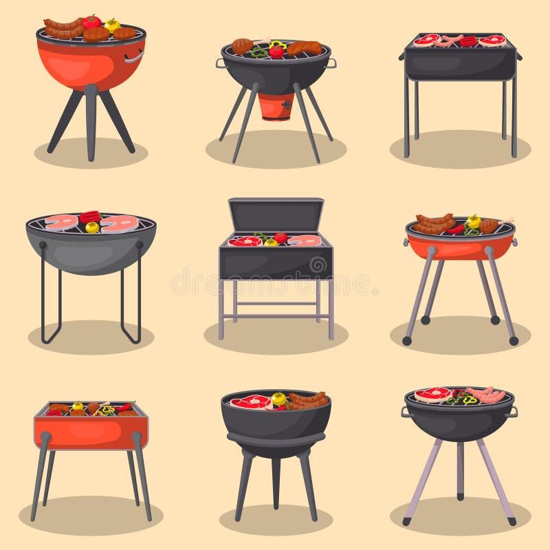 Grilla grill z jedzenie odizolowywającym setem ilustracji
