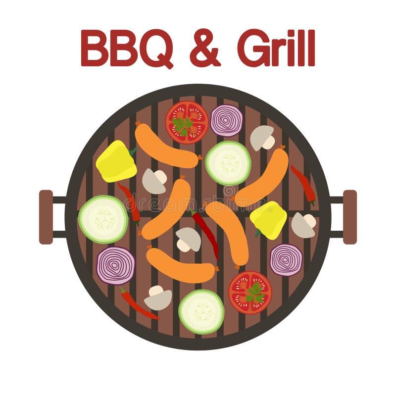 Grilla grill z kiełbasą i warzywami wektor ilustracji