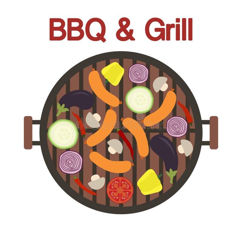 Grilla grill z kiełbasą i warzywami wektor royalty ilustracja