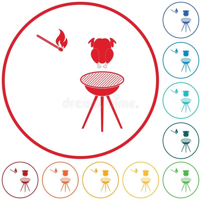 Grilla grill z kurczak ikoną ilustracja wektor