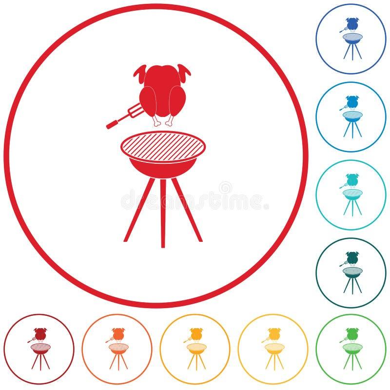 Grilla grill z kurczak ikoną royalty ilustracja