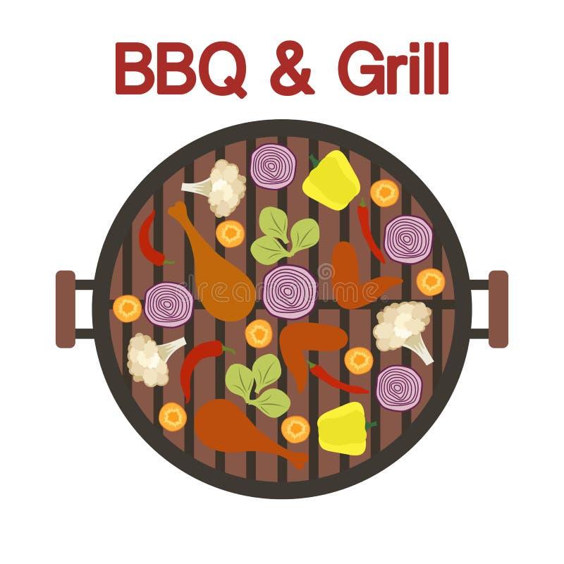 Grilla grill z kurczakiem i warzywami wektor ilustracja wektor