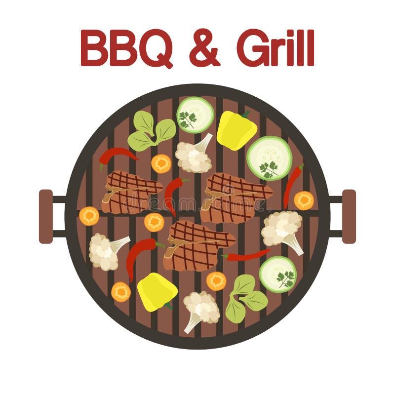 Grilla grill z mięsem i warzywami wektor ilustracji
