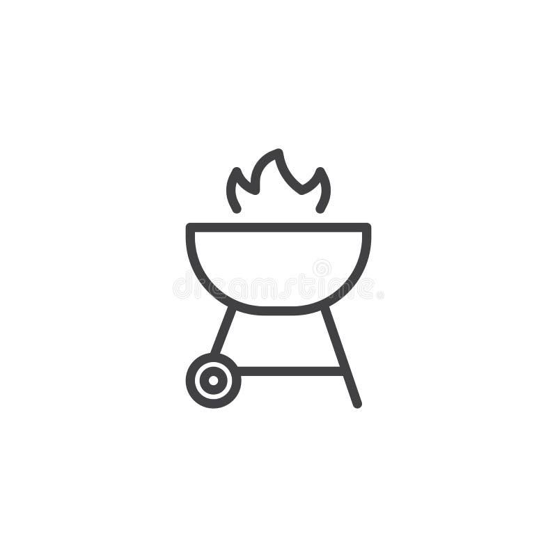 Grilla grill z p?omie? linii ikon? ilustracji
