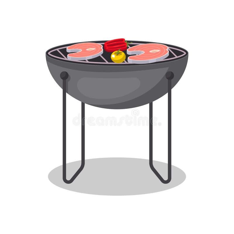 Grilla grill z piec na grillu rybiego stku ikoną ilustracji