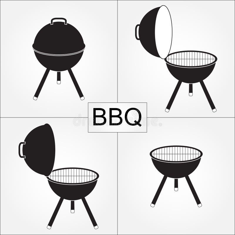 Grilla grill z pokrywą odizolowywającą na białym tle BBQ ikony ustawiać również zwrócić corel ilustracji wektora ilustracja wektor