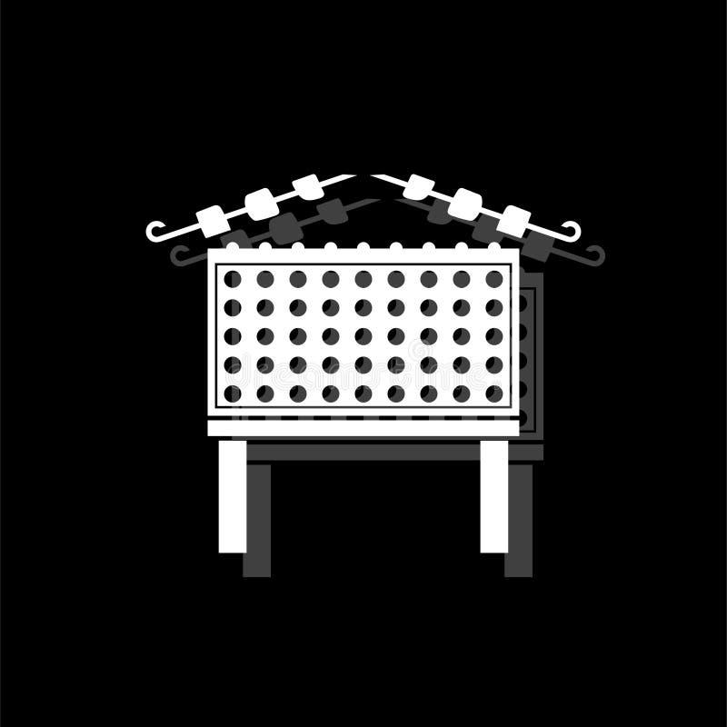 Grilla grill z szaszłyk ikony mieszkaniem ilustracja wektor