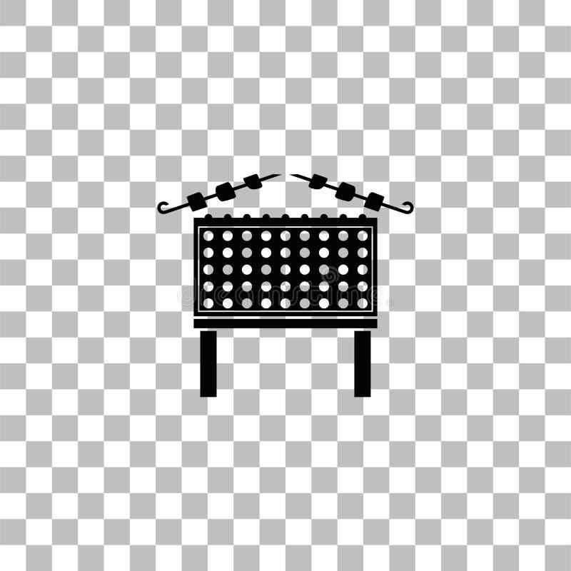 Grilla grill z szasz?yk ikony mieszkaniem ilustracji