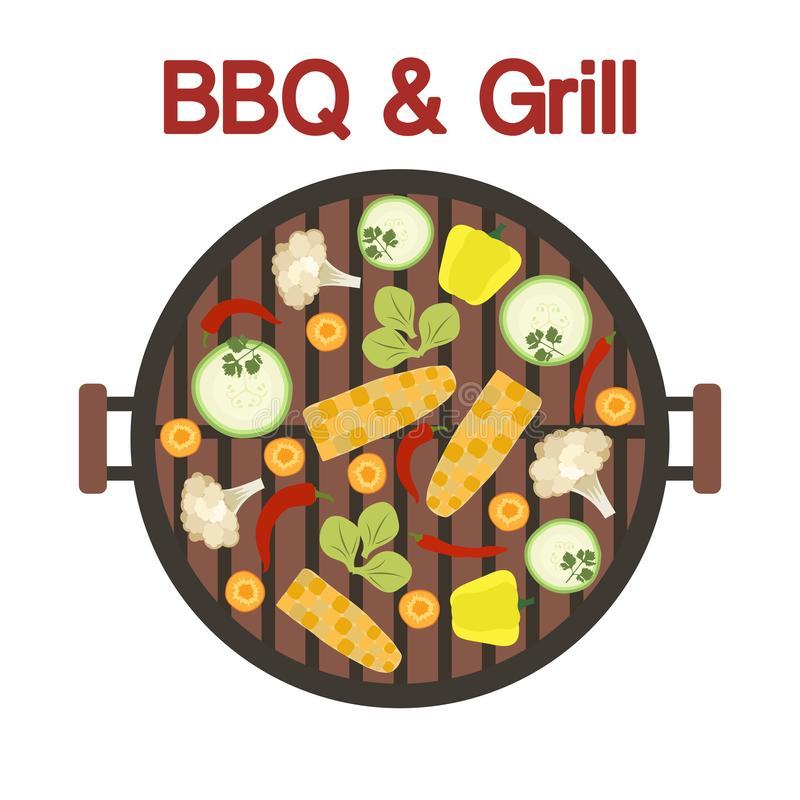 Grilla grill z warzywami wektor ilustracja wektor