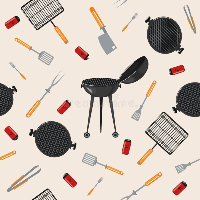 Grilla grilla Bezszwowy wzór z Kuchennymi narzędziami ilustracja wektor
