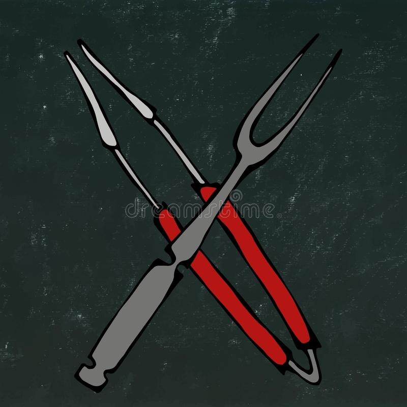 Grilla grilla narzędzia Krzyżujący Tongs i rozwidlenie Odizolowywający Na Czarnym Chalkboard tle Realistyczny Doodle kreskówki st ilustracji