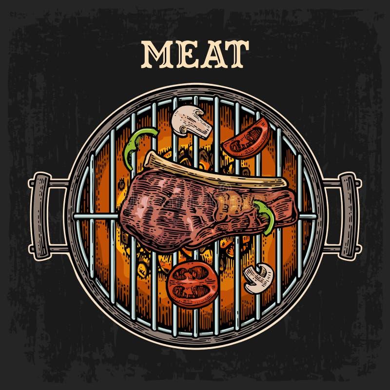 Grilla grilla odgórny widok z węgla drzewnego i wołowiny stkiem ilustracja wektor