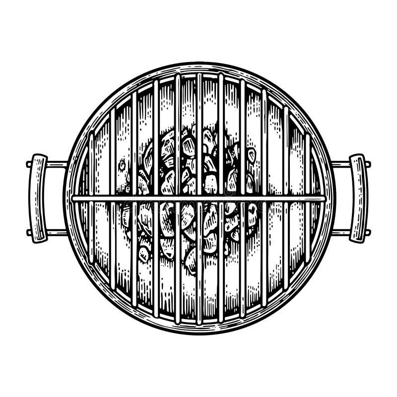 Grilla grilla odgórny widok z węglem drzewnym royalty ilustracja