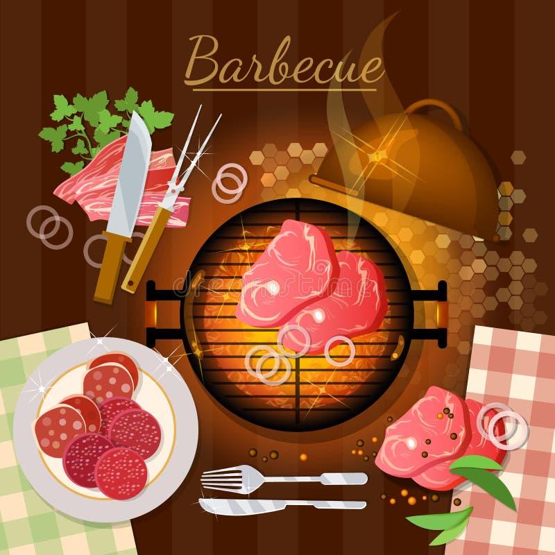 Grilla grilla przyjęcie piec na grillu mięsny odgórny widok ilustracja wektor
