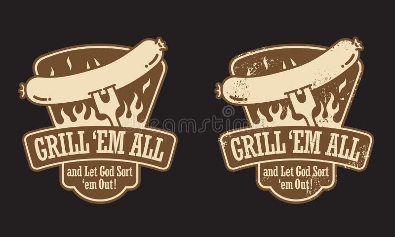 Grilla Hot Dog Emblemat royalty ilustracja