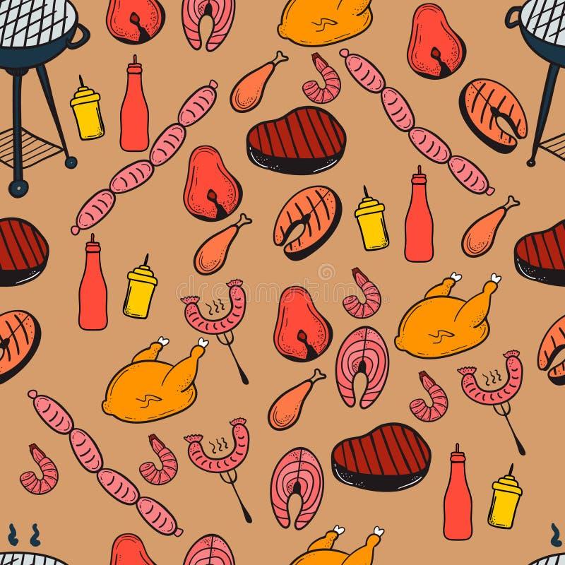 Grilla i butchery bezszwowy wzór ilustracja wektor