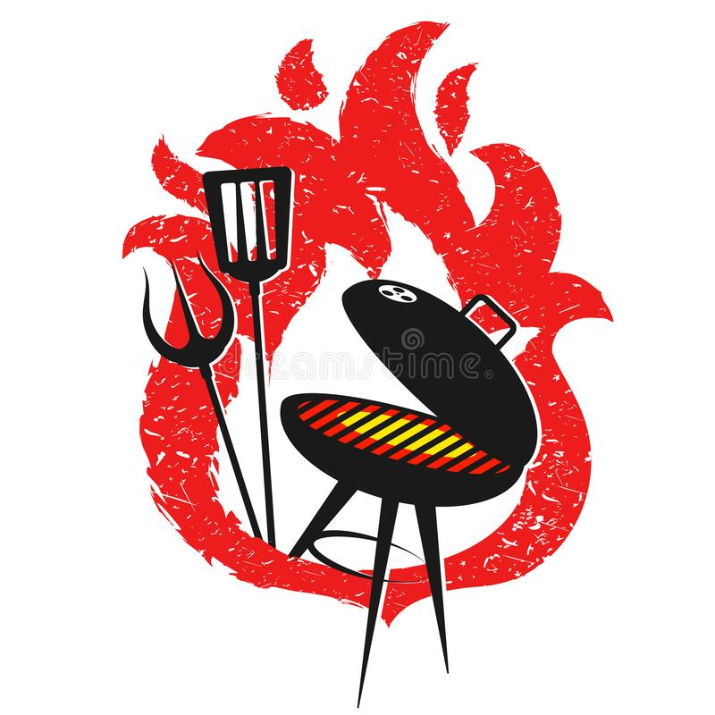 Grilla i czerwonego ogienia projekt ilustracji